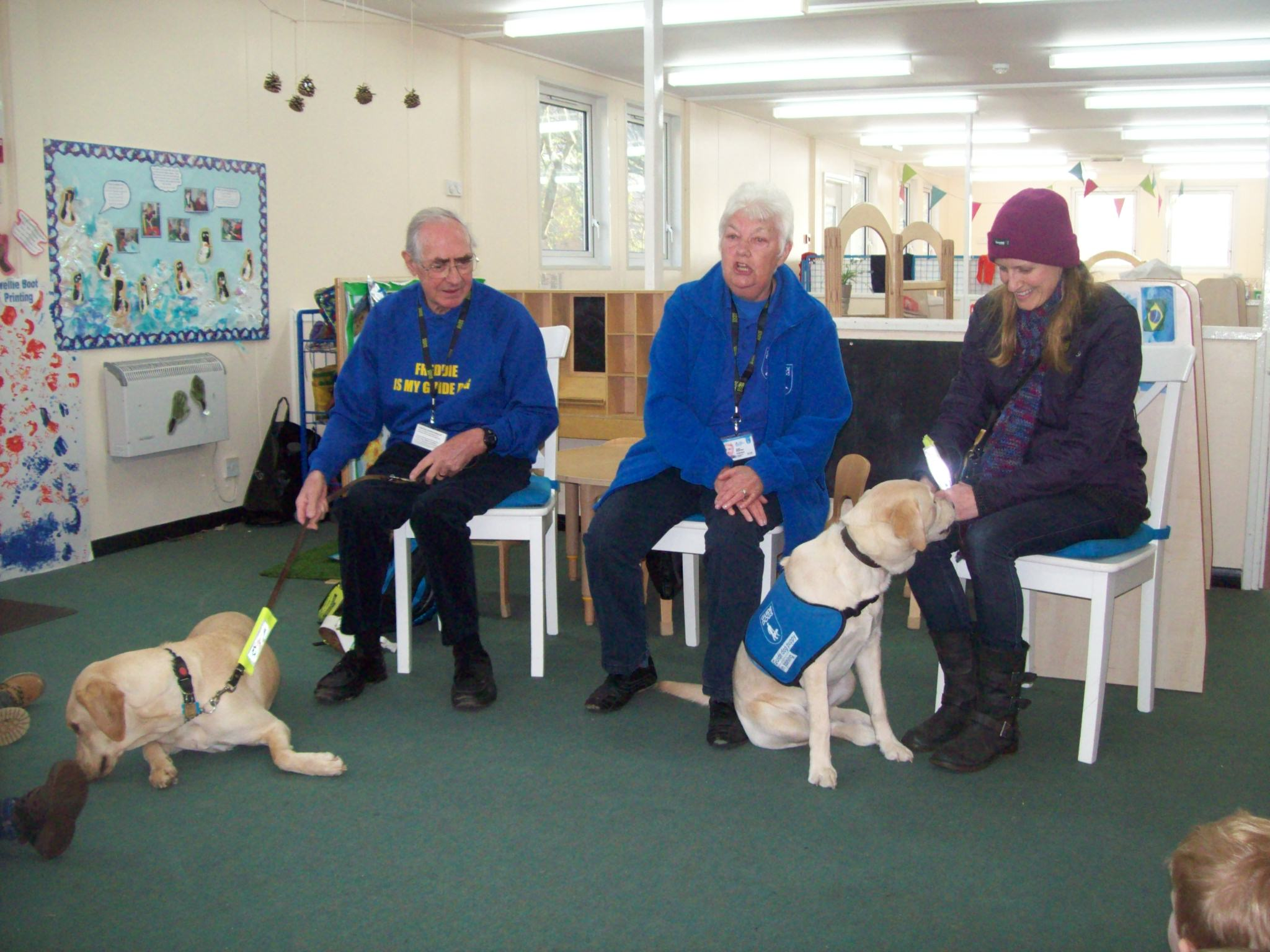 Guide dogs help children learn about the world around them.