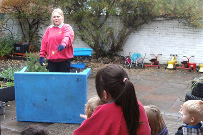 Children learn Makaton signs for Fireworks and Danger!